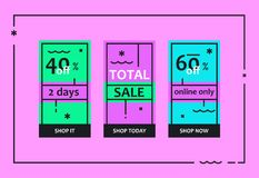 Total Sale Web Banners Set Stock Images