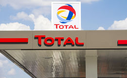 Total Sign Identifying A Gas Station. Royalty Free Stock Photos