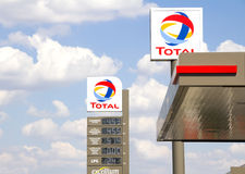 Total sign identifying a gas station. Ankara, Turkey - June 21, 2014: Total sign identifying a gas station. Total is a French multinational oil company and one Stock Image
