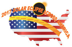 2017 Total Solar Eclipse Across USA Map vector Illustration. 2017 Total Solar Eclipse across America USA map color vector illustration Vector Illustration