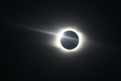 Total Solar Eclipse in Novosibirsk. The last ray of the Sun Stock Image