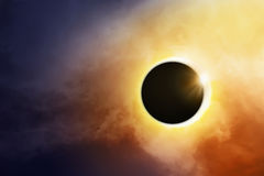 Total Solar Eclipse. Over the dark sky Stock Photo