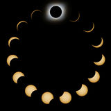 Total Solar Eclipse phases. Composite Solar Eclipse. Solar Eclipse stock illustration