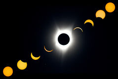 Total Solar Eclipse Progression Stock Images