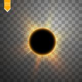 Total solar eclipse vector illustration on transparent background. Full moon shadow sun eclipse with corona vector. Total solar eclipse vector illustration on Royalty Free Stock Photography