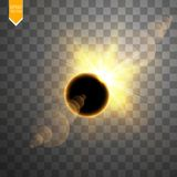 Total solar eclipse vector illustration on transparent background. Full moon shadow sun eclipse with corona vector. Total solar eclipse vector illustration on Royalty Free Stock Photo