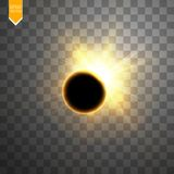 Total solar eclipse vector illustration on transparent background. Full moon shadow sun eclipse with corona vector. Total solar eclipse vector illustration on Stock Photos