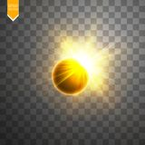 Total solar eclipse vector illustration on transparent background. Full moon shadow sun eclipse with corona vector. Total solar eclipse vector illustration on Stock Image