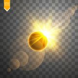 Total solar eclipse vector illustration on transparent background. Full moon shadow sun eclipse with corona vector. Total solar eclipse vector illustration on stock illustration