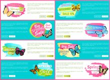 Total Spring Sale 70 Off Stickers on Web Posters. Butterflies of multy color with ornaments and decorative wings, vector total sale discount vouchers vector illustration