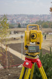 Total Station on construction site Royalty Free Stock Photo