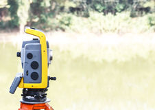 The total station. The geodetic and topography measuring tool. Royalty Free Stock Image