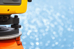 The total station, The geodetic and topography measuring tool Stock Photo