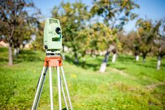 Total station surveying and measuring engineering equipment Stock Photos
