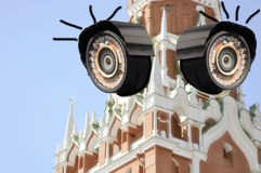 Total surveillance of special secret services. eyes of moscow. royalty free stock image