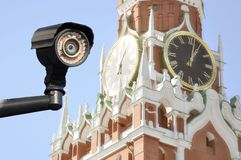 Total surveillance of special secret services. eyes of moscow. royalty free stock photo