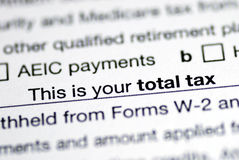 Total tax in the income tax return Stock Image