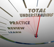 Total Understanding Speedometer Measure Learning Education. Total Understanding words on a speedometer with Learn, Review and Practice to illustrate the steps of Royalty Free Stock Photos