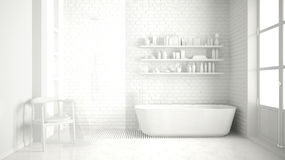 Total white classic vintage bathroom with tub, minimalist interi Royalty Free Stock Images