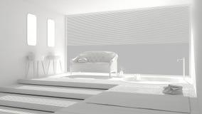 Total white minimalist bathroom with big window, classic vintage Royalty Free Stock Photos