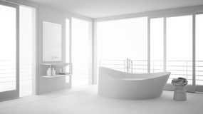 Total White Minimalist Bathroom With Big Bath Tub And Panoramic Royalty Free Stock Photography