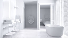 Total white minimalist scandinavian bathroom with bedroom. In background, classic interior design Royalty Free Stock Photography