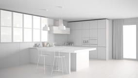 Total white modern kitchen, minimalist interior design Royalty Free Stock Images