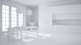 Total white project of classic white kitchen with wooden and beige details, dining table laid for two, with chairs and pendant lam. Ps, minimalistic and modern royalty free illustration