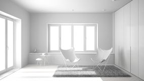 Total white project of minimal living room with armchair carpet, parquet floor and panoramic window, scandinavian architecture, mo stock photo