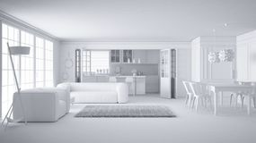 Total white project of minimalist white living room and kitchen, big window and carpet fur, scandinavian classic interior design. Concept idea vector illustration