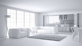 Total white project of minimalist white living room and kitchen, big window and carpet fur, scandinavian classic interior design. Concept idea stock illustration