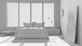 Total white project of modern bedroom with big panoramic window, Royalty Free Stock Photo