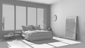 Total white project of modern bedroom with big panoramic window, Stock Image