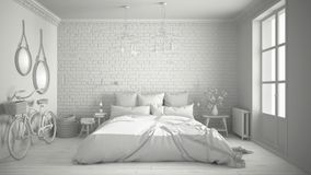 Total white project of modern bedroom with cozy double bed, bric. K wall, wooden floor and big window, scandinavian minimalist architecture interior design Stock Photos
