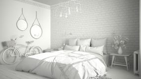Total white project of modern bedroom with cozy double bed, bric. K wall, wooden floor and big window, scandinavian minimalist architecture interior design Royalty Free Stock Image