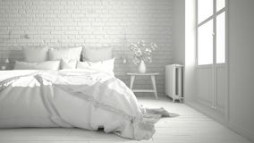 Total white project of modern bedroom with cozy double bed, bric. K wall, wooden floor and big window, scandinavian minimalist architecture interior design Royalty Free Stock Photos