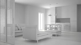 Total white project of modern clean living room with kitchen and dining table, sofa, pouf and chaise longue, minimal interior. Design royalty free stock photo