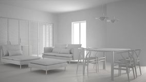 Total white project of modern clean living room with sliding door and dining table, sofa, pouf and chaise longue, minimal interior. Design stock photography