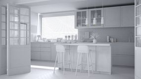 Total white project of modern scandinavian kitchen with island, stools and pendant lamps, cabinets and accessories, minimalist royalty free illustration