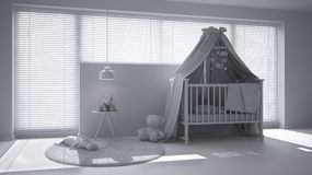Total white project of scandinavian nursery with canopy cradle, carpet, bedside table pendant lamp and toys, big window with venet. Ian blinds, contemporary stock illustration