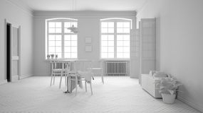 Total white project of scandinavian white and purple dining room, wooden herringbone parquet floor, table and chairs, windows. Modern furniture interior design royalty free illustration
