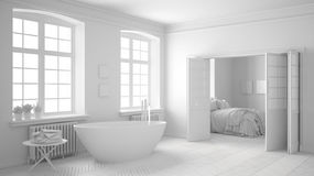 Total white scandinavian bathroom with bedroom in the background Royalty Free Stock Images