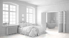 Total white scandinavian bedroom with bathroom in the background Royalty Free Stock Photos
