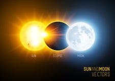 Totale verduistering, de zon en de maan royalty-vrije illustratie