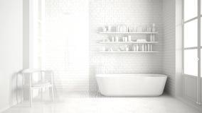Totale witte klassieke uitstekende badkamers met ton, minimalistische interi royalty-vrije stock afbeeldingen