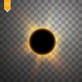 Totale zonneverduisterings vectorillustratie op transparante achtergrond De zonverduistering van de volle maanschaduw met coronav Royalty-vrije Stock Fotografie