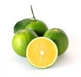 Totalité et demi oranges douces sur le fond blanc Image stock