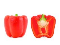 Totalité et paprika à moitié rouge photo stock