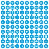 100 totalizator icons set blue. 100 totalizator icons set in blue hexagon isolated vector illustration Stock Image