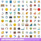 100 totalizator icons set, cartoon style. 100 totalizator icons set. Cartoon illustration of 100 totalizator vector icons isolated on white background Stock Photo